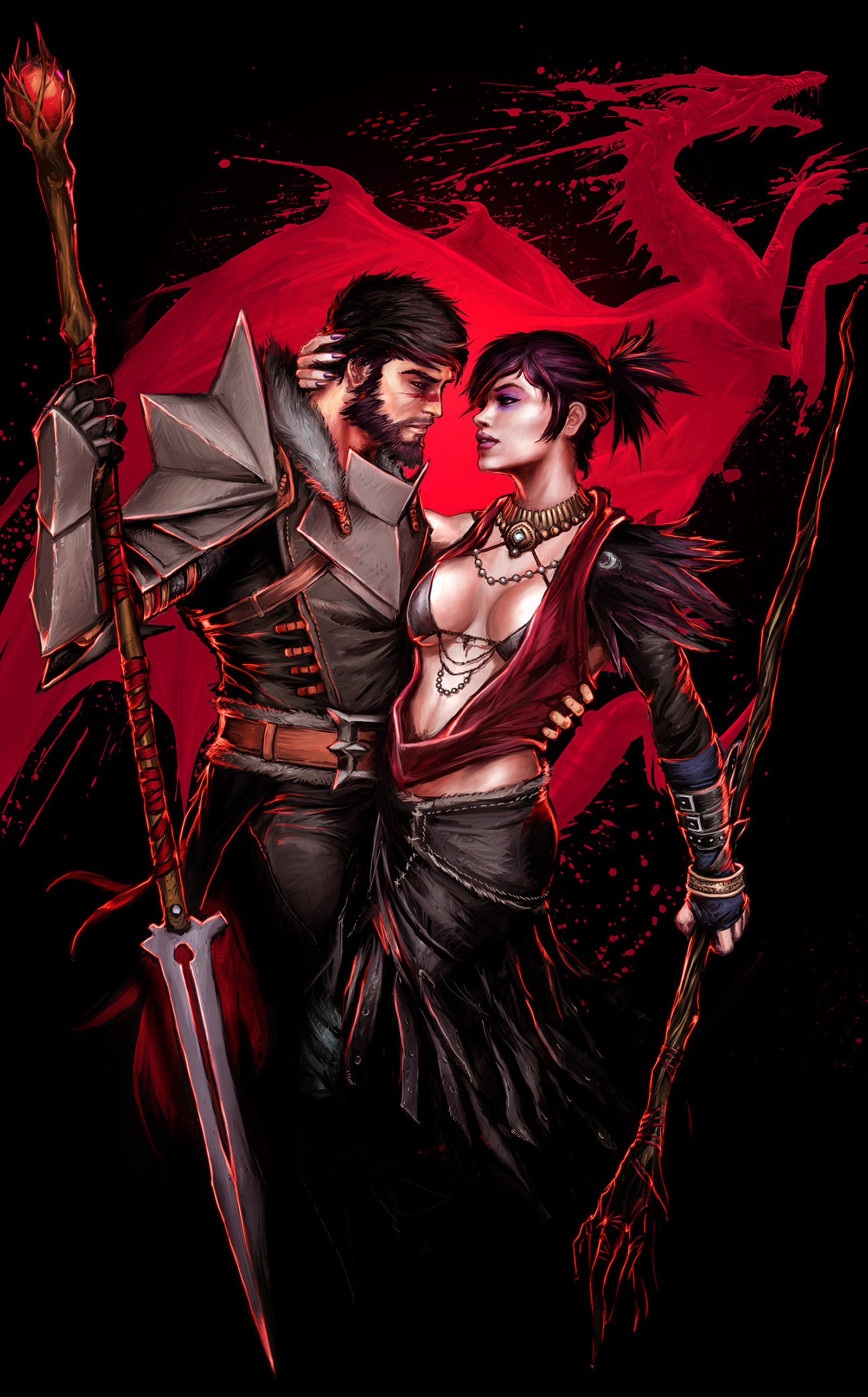 Dragon Age - Hawke  Morrigan fv by YamaOrce