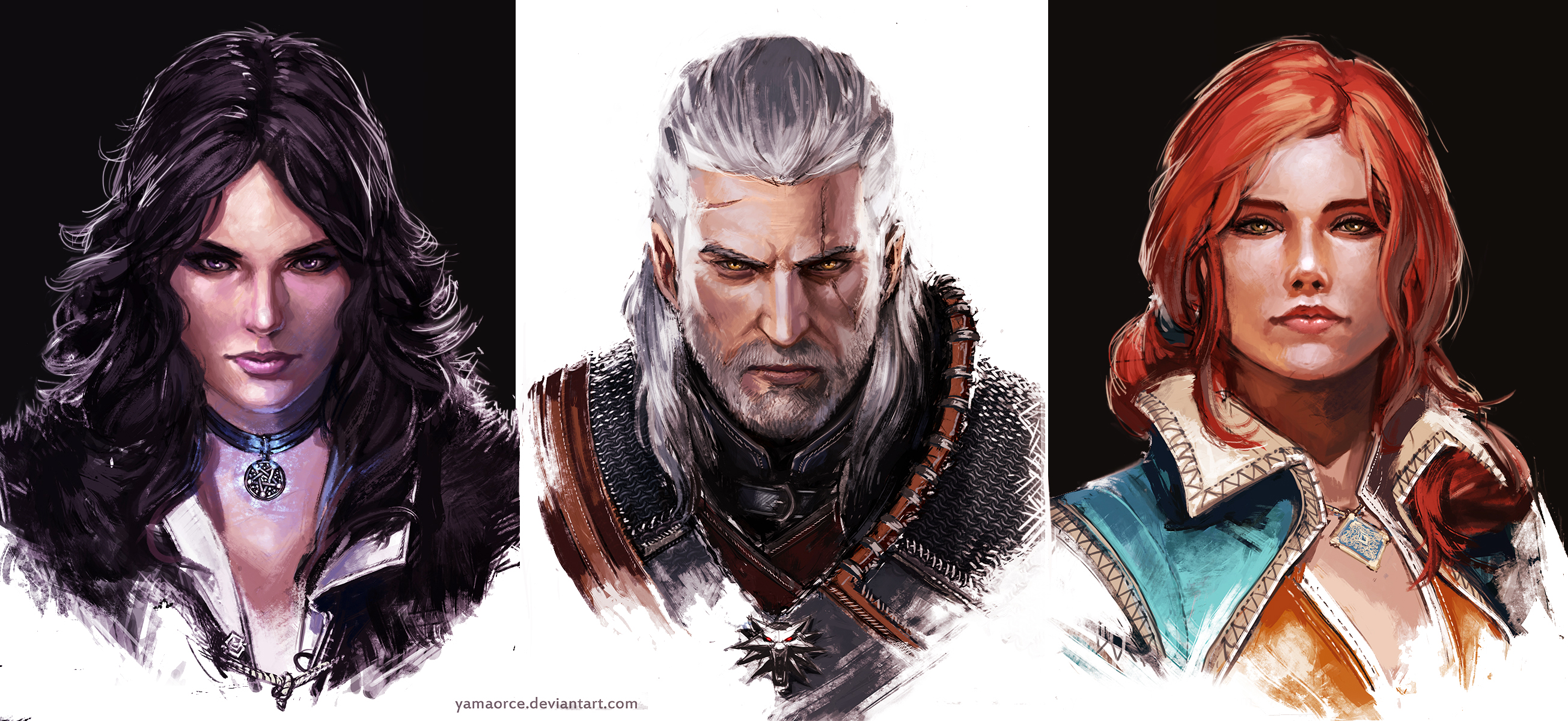 the_witcher_portraits_by_yamaorce-d8p2zz