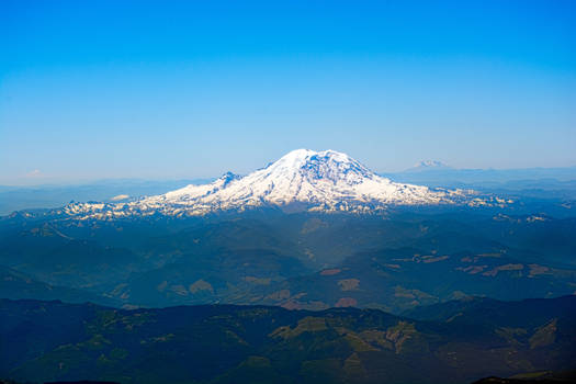 Mount Rainier and Park Aerial View