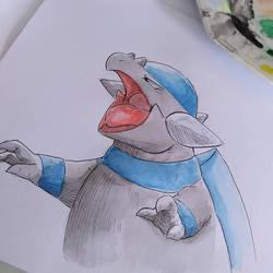 Rampardos tradicional watercolor. by Willian92