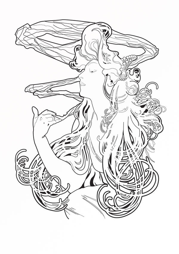 Art Nouveau Coloring Book Pages