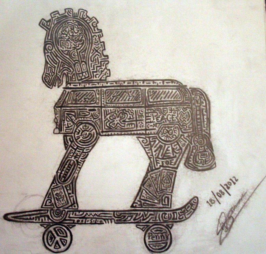 trojan horse custom tattoo by superninjapirategirl on deviantart. Black Bedroom Furniture Sets. Home Design Ideas