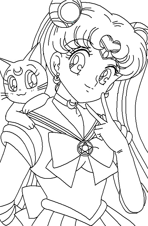 moon and luna coloring page by paramourphoenix - Sailor Moon Coloring Pages