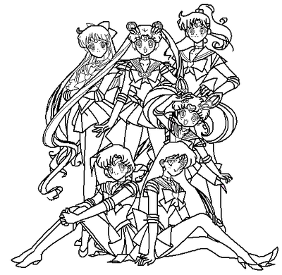 5 scouts coloring page by paramourphoenix on deviantart for Sailor moon group coloring pages