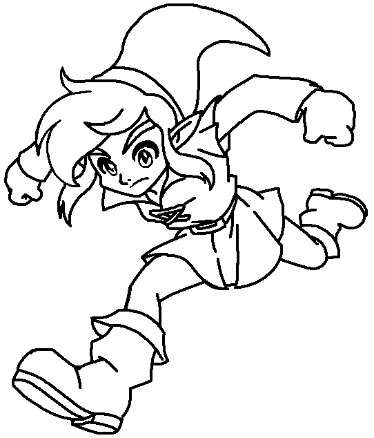 jumping link coloring page by paramourphoenix - Link Coloring Pages