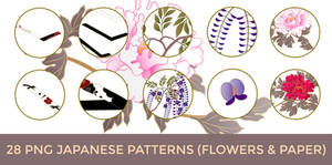28 PNG Japanese Pattern (Flowers and Paper Folds) by o-yome