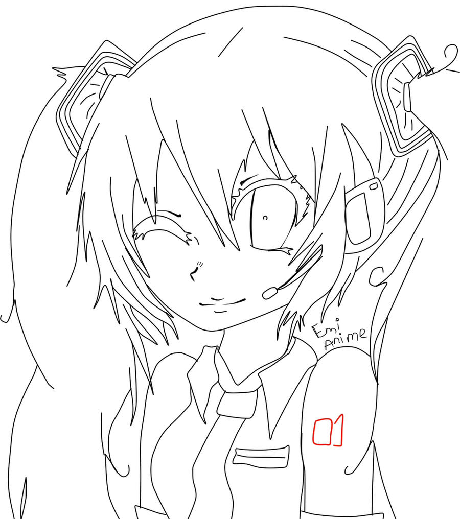 Line Art Emui : Miku line art sketch by emianimeoriginal on deviantart