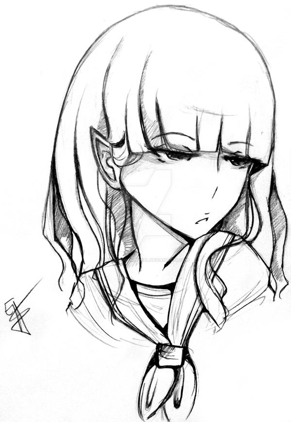 uncolored sketch 12 year old emi 2 by emianimeoriginal