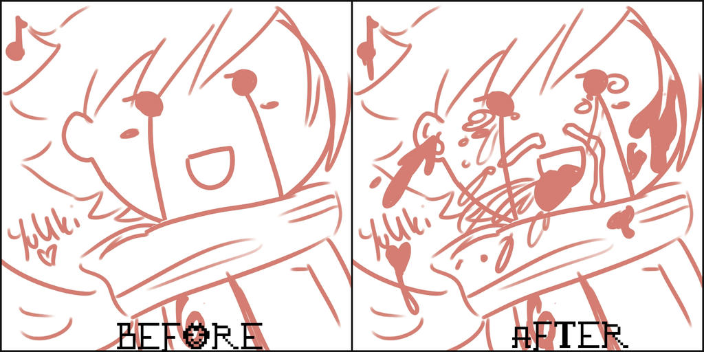 YuUki watching soul eater ending by EmiAnimeOriginal