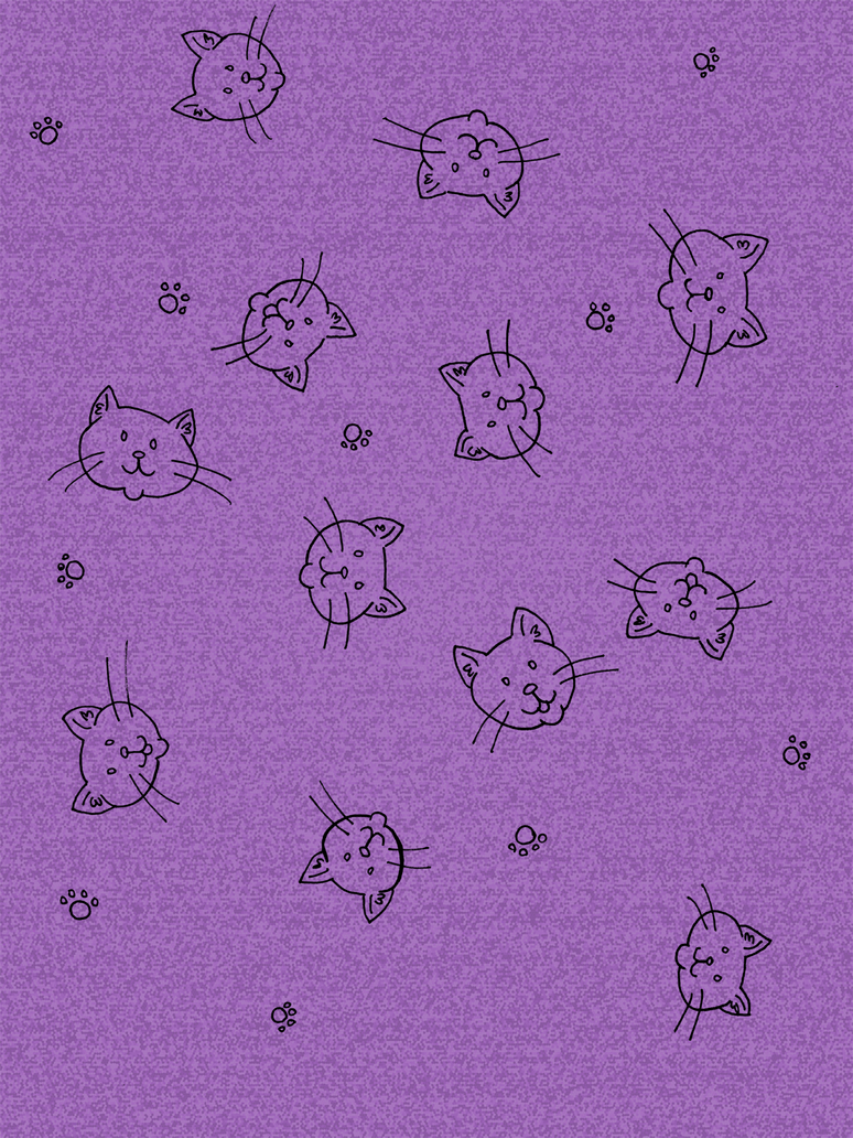 Printable Purple Kitty Doodle Scrapbook Paper By Akalolcat On