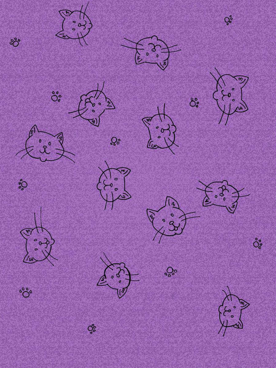 Printable: Purple Kitty Doodle Scrapbook Paper by akaLOLCat