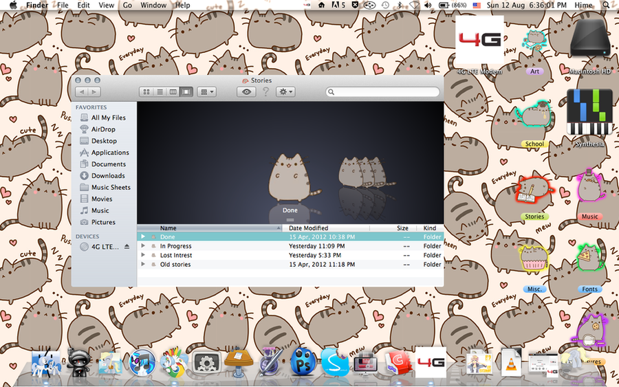 My Desktop   Pusheen Themed [Icon Pack Included] By Penguimoo ...