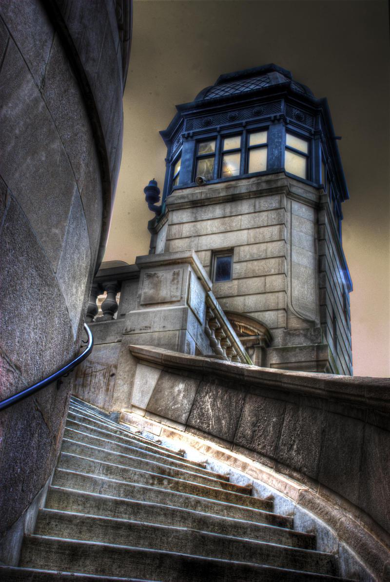 LaSalle Street Bridge Stairs by spudart