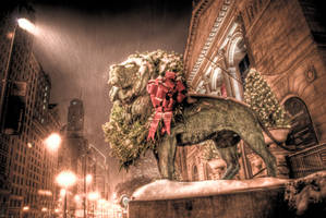 Chicago Art Institute Lions Christmas 5 by spudart