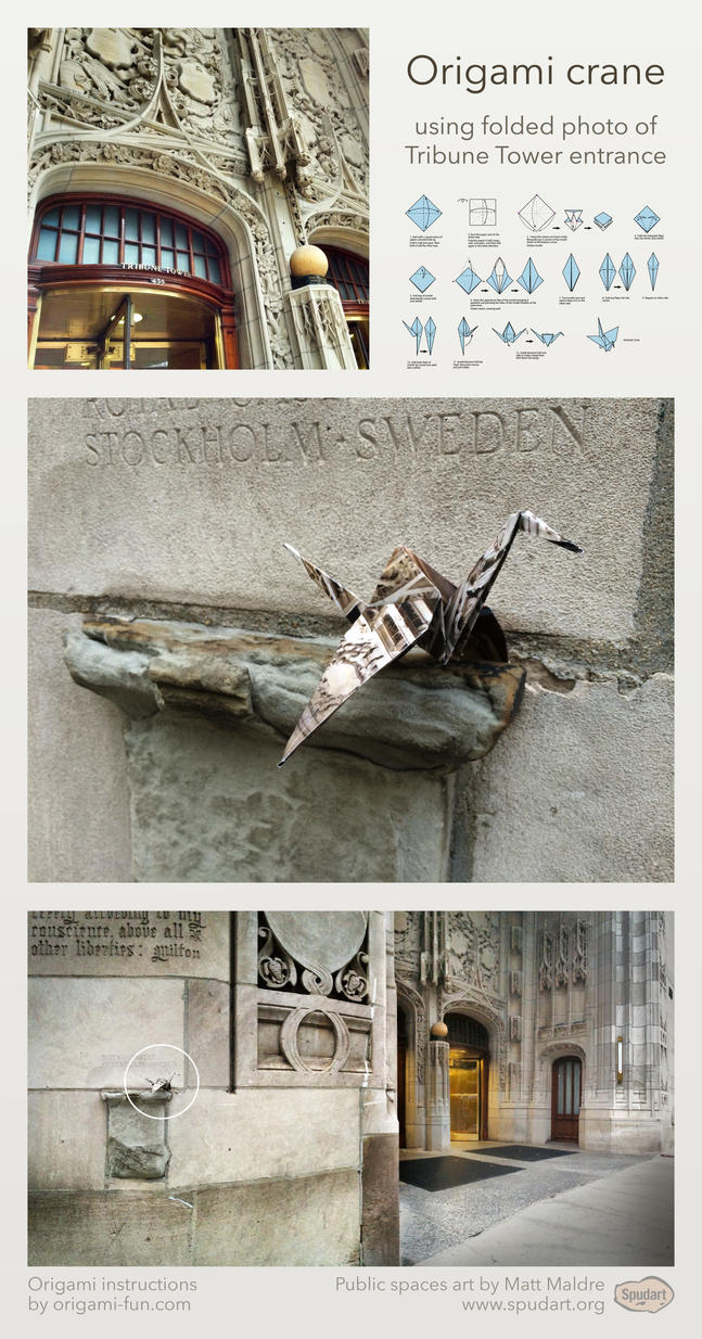 Origami crane using photo of Tribune Tower Chicago by spudart
