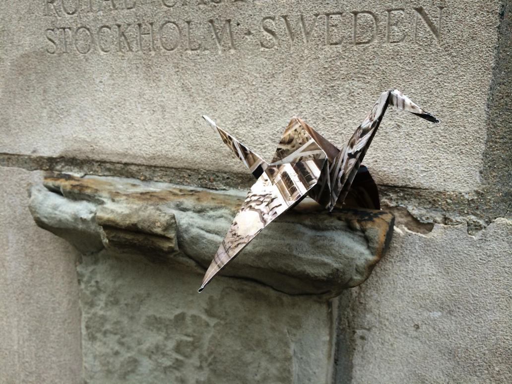 Origami Crane street art in Chicago by spudart