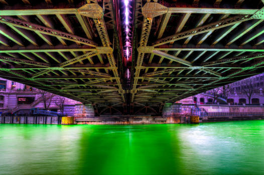 Intensely green river turns air purple