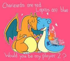 Charizard And Lapras by RexiDoodle