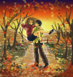 Harry and Hermione in autumn by amandioka