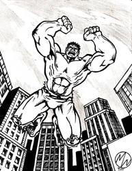 Hulk Inked drawing by WEDMER
