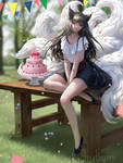 Commission - Happy Birthday Ahri by ChubyMi