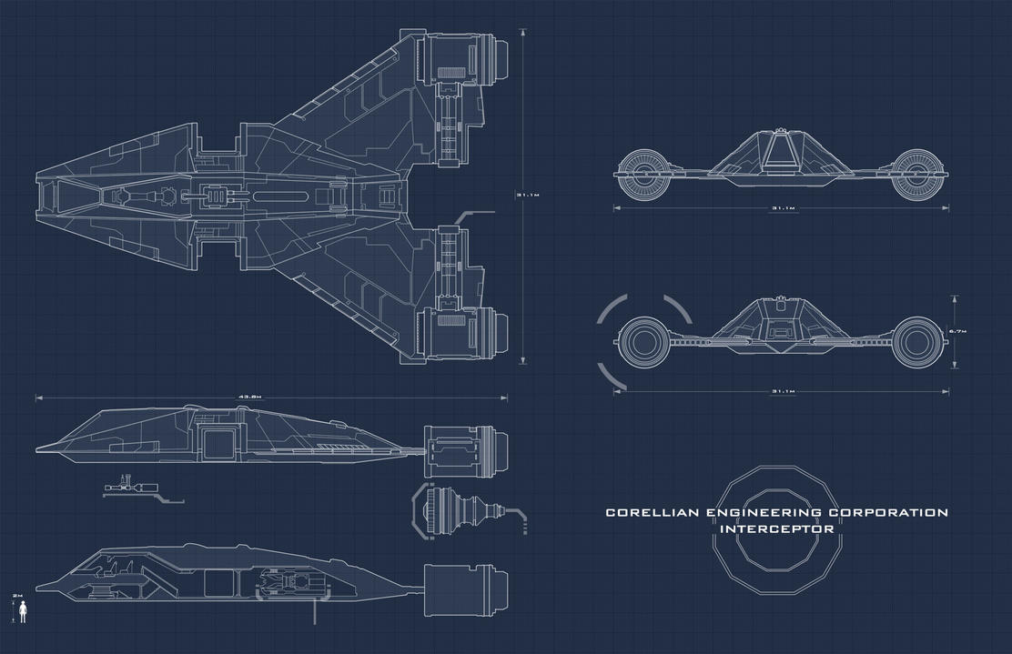 Star Wars Interceptor Blueprint By AdamKop