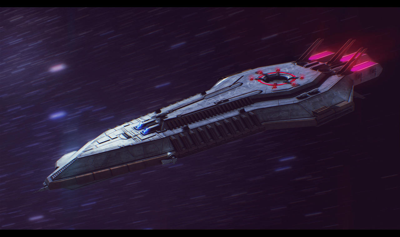 3D Lazerus Starship Commission by AdamKop
