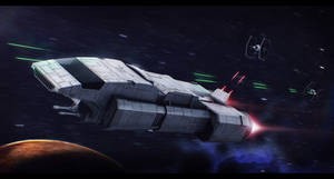 Star Wars Sigma shuttle chased by TIEs by AdamKop