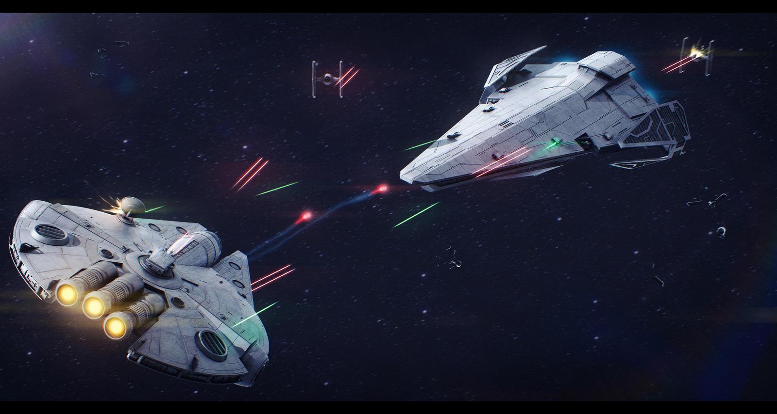 Star Wars - Saracen Saber running the blockade by AdamKop