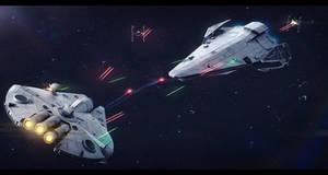 Star Wars - Saracen Saber running the blockade