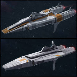 Textspaced 3D Ship renders - Frigate variants by AdamKop