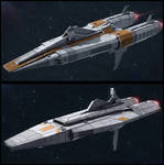 Textspaced 3D Ship renders - Frigate variants