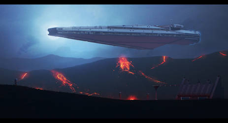 Star Wars: Dominator leaving Sullust outpost by AdamKop