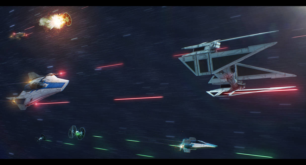 Star Wars Azure Squadron engaging enemy TIEs by AdamKop