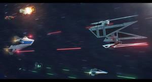 Star Wars Azure Squadron engaging enemy TIEs
