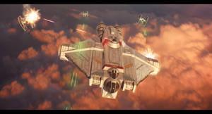 Star Wars - Ghost fending off TIEs above Lothal