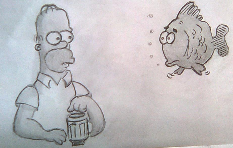 Homer Simpson and Fish by AerisSs