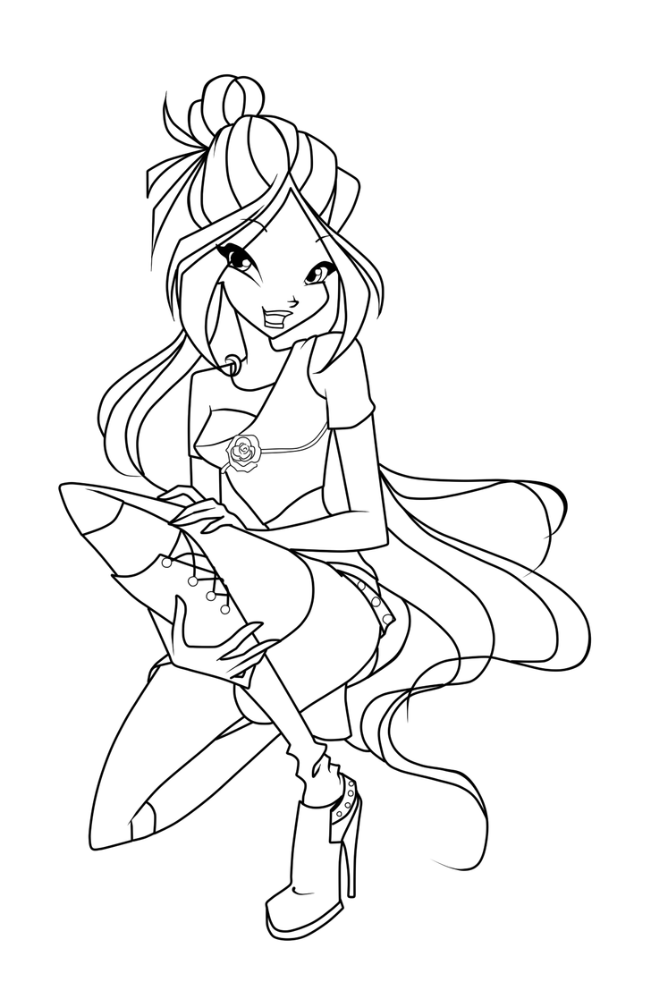 Flora coloring by jevelea on deviantart for Winx club coloring pages flora