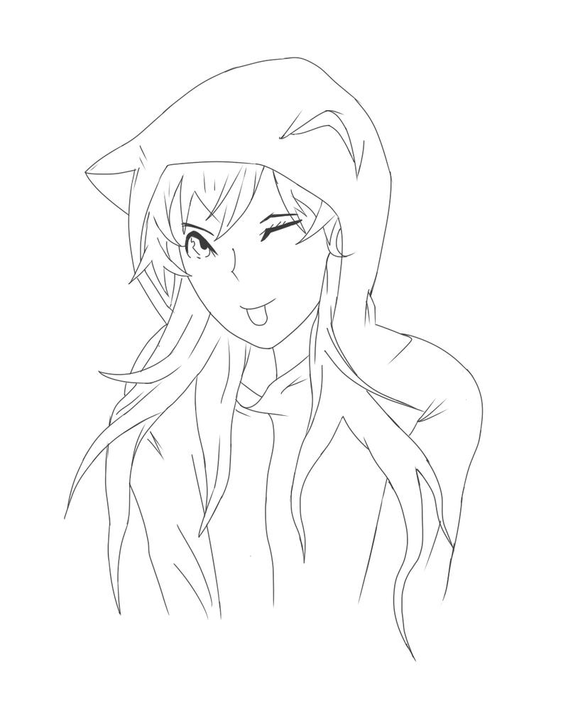 Neko Girl - Sketch/ Lineart by AMVrandomzz