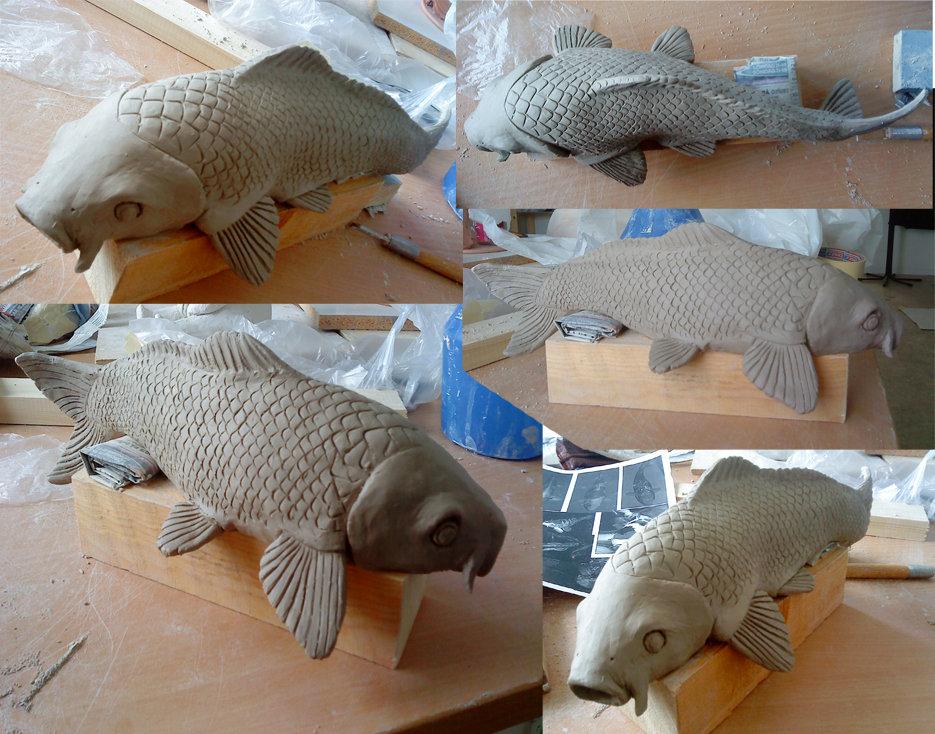 Koi fish sculpture by chuustar on deviantart for Koi fish statue