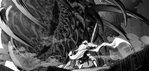 Dark Souls: knight vs gaping dragon by ChuuStar