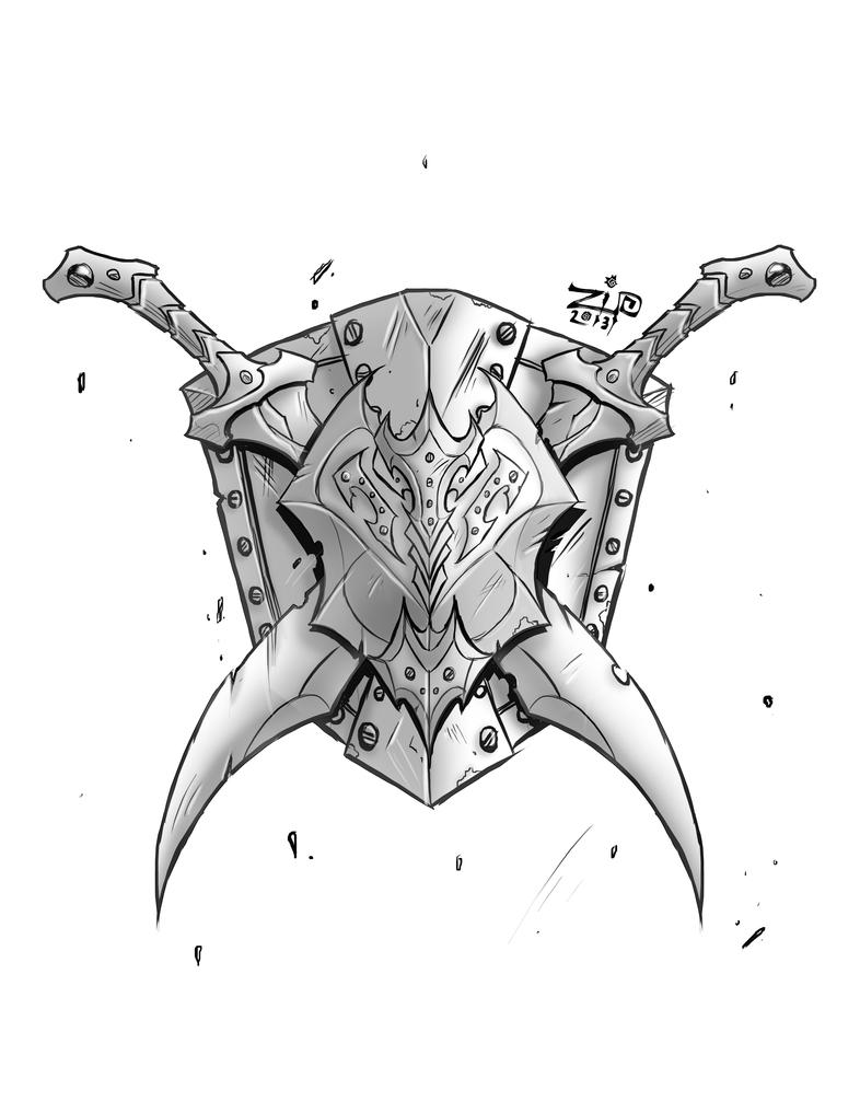 Steves Shield and Swords Tattoo by ZipDrawSpartan Shield And Sword Tattoo