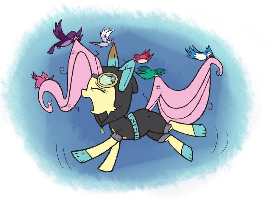 Fluttershy Flutters By by Gallade77