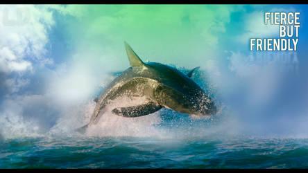 Shark Art Fierce but Friendly by BLGraphical