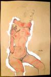Seated Nude :Egon Schiele: