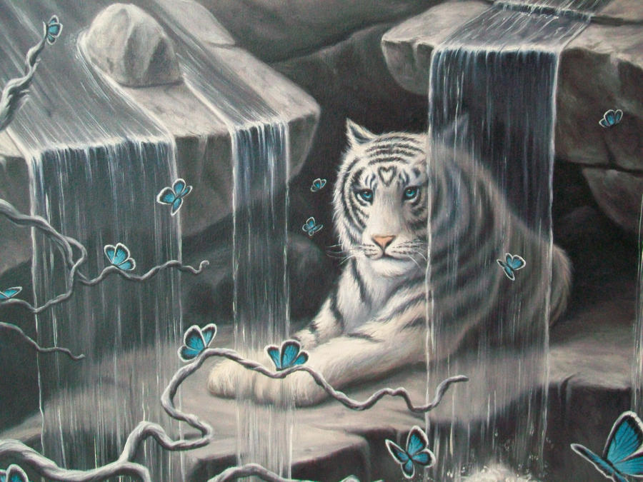 White Tiger In Waterfalls : detail by ChristopherPollari