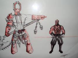 Kharn the Betrayer Vs. Darth Maul by Halcenion
