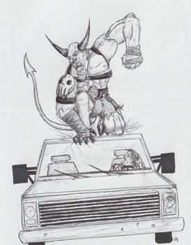 Demon Attacking Car