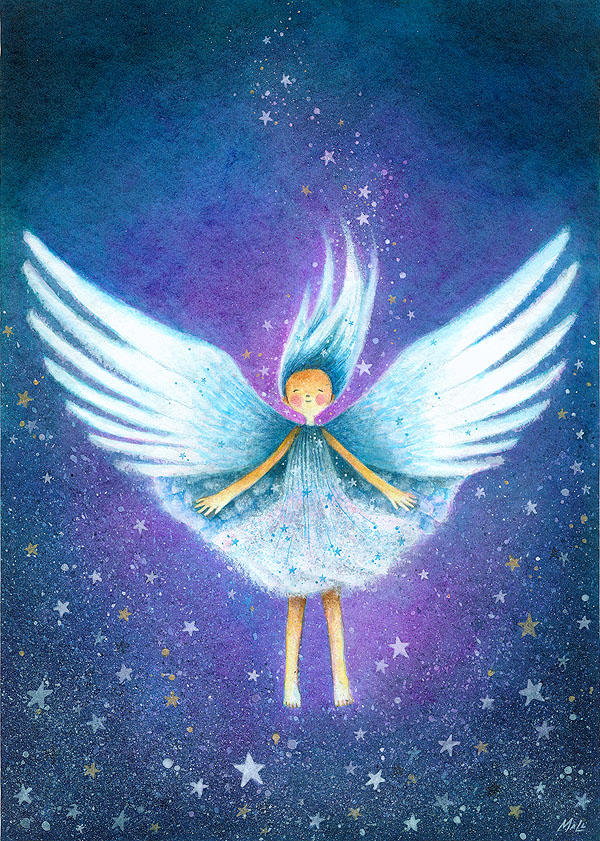 Angel Floats with Stars by frecklefaced29