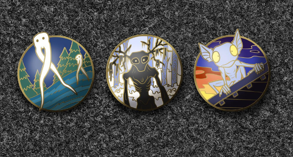 Concept Pin Set - Strange Cryptids by SouthParkTaoist